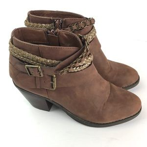 Sugar   Brown Ankle Heel Boots Vangel  Zip Up 6